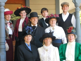 by: KRISTEN FORBES Actors from the Willamette Living History Tour include (from top row, left to right): Franny Heald, West Linn Old Time Fair Queen Sara Gowdy, Maggie Hill, organizer Danny Schreiber; (middle row): Charles Awalt, Diane Awalt; (bottom row): Shelly Wert, Jayne Vorhies and Carol Elliott.