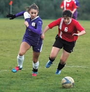 by: submitted photo HAWK ON THE PITCH — Maggie Bachhuber (left) is one of the key returnees for Horizon Christian this season.