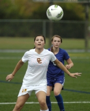 by: David Ball Central Catholic's Maheyla Molinari gets into position to take a pass in front of Barlow midfielder Kendal Kern during Thursday night's 1-1 draw at Delta Park.