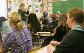 by: Tyler Graf BIG CLASS — St. Helens High School science teacher Amber Horn gets the attention of her students during her second period class attended by close to 40 students. Horn said classroom sizes have ballooned in the last year.