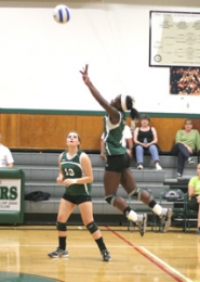 by: Loren Nibbe Genna Settle uses her outstanding leaping ability to contribute along the front line for Estacada despite giving up almost a foot to other players.