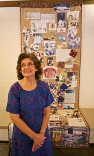 by: Jaime Valdez Metzger Centennial Committee member Elisabeth Hampton-Gray shows off the quilt she made in tribute to Pat Whiting, for whom the Metzger Park Hall will be renamed on Saturday.