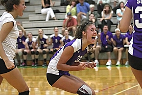 by: Miles Vance IN THE BATTLE — Sunset senior Jenessa Taylor reacts after her team won a point against Jesuit on Sept. 22 at Jesuit High School.