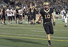 by: Miles Vance HE'S IN – Southridge senior Brandon Brezic scores on a 7-yard reception in the third quarter of his team's 45-7 home win over Beaverton on Friday night.
