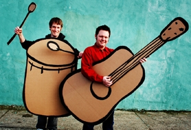 by: Courtesy photo Portland-based Johnny and Jason (Johnny Keener and Jason Green) will entertain the younger set on Saturday.