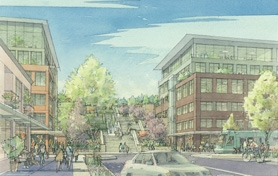 by: SUBMITTED ARTIST RENDERING A large staircase called the Willamette Steps would link streetcar park-and-ride garages and other new development in Foothills to downtown. There would also be a public elevator at this streetcar stop, consultants say.