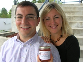 by: CLIFF NEWELL Kelly Calabria, right, and her husband, Adam, have become Lake Oswego's first family of jelly after only one year with Kelly's Jelly, a beautiful blend of tang and sweetness.
