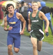 by: David Ball Reynolds Keenan Follett and Barlow's Auston Burns sprint for the finish line.