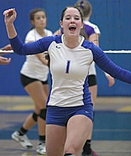 by: Miles Vance LIVE IT UP – Aloha senior Amanda Goringe celebrates a point during her team's four-game Metro League win over Sunset on Oct. 6 at Aloha High School.