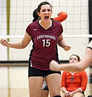 by: Miles Vance WE WIN – Southridge junior Alexa Basauri celebrates a point in her team's three-game sweep of Beaverton on Tuesday night at Southridge High School.