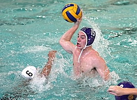by: Miles Vance CRANK IT UP — Sunset's Zane Bambusch goes up for a shot over the defense of Westview's Devanshu Awasthi during his team's win at Sunset Swim Center last week.
