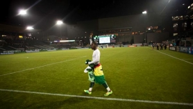 by: CHRISTOPHER ONSTOTT Kalif Alhasssan waves to the fans at Jeld-Wen Field after he and the Portland Timbers closed their inaugural MLS regular season with a 2-0 loss Friday to the Houston Dynamo.