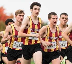 by: John Schrag Forest Grove runners James McCahon, Conner Pitt, Tyler Shipley and Brayan Cruz (from left) start last week's meet.