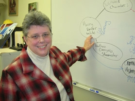 by: CLIFF NEWELL Lakeridge High School history teacher Karen Hoppes' whiteboard shows the web of spies that stole atomic secrets from the United States in 1945. She says that the post-World War II era was in many ways quite similar to our own.