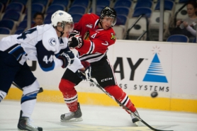 by: CHRISTOPHER ONSTOTT Portland Winterhawks defenseman Joe Morrow takes a shot in Tuesday's victory over Saskatoon.