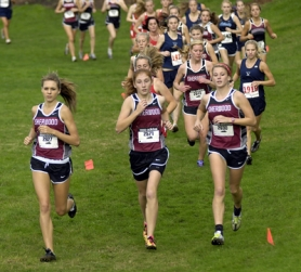 by: DAN BROOD STARTING STRONG — Sherwood's (from left) Victoria Kalina, Avery Rosenbalm and Devon Greene get off to a fast start at last week's NWOC meet.
