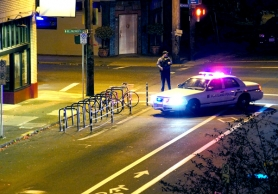 by: Courtesy of Josh Bryan Portland police set up a perimeter Friday night near Northeast Killingsworth Street after a 22-year-old man was shot on North Haight Avenue. No suspect was found in the shooting.