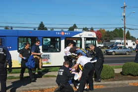 by: Photo courtesy of Forest Grove Fire and Rescue Seven passengers of a TriMet bus were injured Tuesday afternoon when the driver stopped suddenly to avoid a collision.