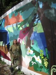 by: Claire Oliver Angelina Marino, the mural's artist, said she plans to complete the 700-square-foot piece by the end of the month.