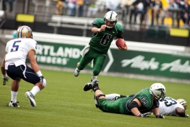 by: CHRISTOPHER ONSTOTT Quarterback Connor Kavanaugh, scrambling against Montana State, will lead Portland State in its final four Big Sky games of the season.