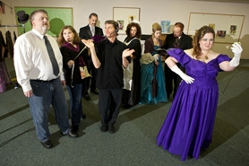 "by: Jaime Valdez The cast of ""The Green Room,"" which opens Nov. 4 at Calvin Presbyterian Church in Tigard, are (from left) Rod Johnson, Maille O'Brien, Greg Prosser, Mason Hall, Arleen Daugherty, Allison Andresen, Nick Hamilton and Jenny Lind Conlee."
