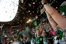 by: CHRISTOPHER ONSTOTT Goals, wins and even the national anthem (above, as fans toss confetti in the air) were cause for much celebration during the Portland Timbers' inaugural season, where nary an empty seat could be found.