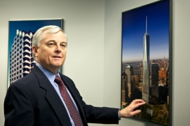 by: Jaime Valdez John Beaulieu, vice president of Benson Industries LLC, points to the tallest of four proposed World Trade Center towers his firm is working on in New York. The Portland company is creating the skyscrapers' angular steel-and-glass exterior.