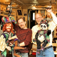 "by: David F. Ashton Steven M. Overton and Martin Richmond of Olde World Puppet Theater Studios in Sellwood show two characters from their motion picture, ""Witch Key; a Prince's Adventure""."