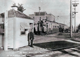 by: D. A. Owens Golf Junction in the early days – this photo dates to around 1908. In the background is the power conversion station (it's still there), an Oregon Water Power and Railway Company (OWP&R) inter-urban that ran between Estacada and downtown Portland, and the ticket office.