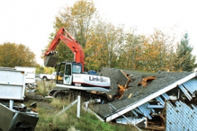 by: Contributed photo A demolition crew tears down the Bridal Veil Church on Thursday, Oct. 27.