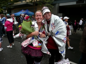 by: Contributed Photo From left, Kim Cultala and Loni Jones ran in the Portland Marathon to raise money for stillborn and premature labor research and support.