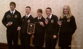 by: Courtesy photo Mitchell Evers, Eric Evers, LeeAnn Pallett, Mathias Schmidlkofer and Stefani Evers represented Banks High School at the 84th National FFA Convention in Indiana.