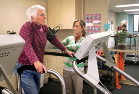 by: Jim Clark Barbara Wheeler, who is recovering from stent surgery, has her blood pressure checked by cardiac rehab nurse Jill Wright as she works out at Legacy Mount Hood Medical Center's cardiovascular rehabilitation facility on Friday, Oct. 28.