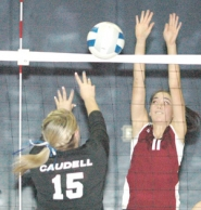 by: Kris Anderson Damascus Christian's Kristen Wood puts up a block during Saturday's win.