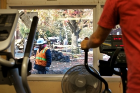 by: Jaime Valdez Seniors exercising in a workout room  at the Elsie Stuhr Center can keep tabs on construction workers' progress as they work on the much-anticipated expansion of the popular center at 5550 S.W. Hall Blvd.