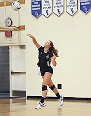 by: Miles Vance SERVE IT UP — Valley Catholic's Kelsey Luyten serves in her team's win over Warrenton on Saturday.