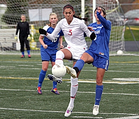 by: Miles Vance FOOT FIGHT – Westview's Ivey Kasai (left) battles for control during her team's first-round playoff win over Gresham on Saturday at Westview High School.