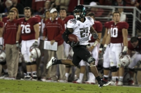 by: JAIME VALDEZ LaMichael James runs for a first-half touchdown, as Oregon cruises past host Stanford 53-30 in a Pac-12 showdown Saturday at Stanford.