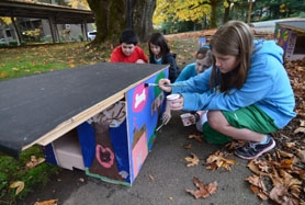 by: VERN UYETAKE From left, Touchstone students Sam Chiu, Larrissa Chan, Alex Morrow and Miranda Krump put some finishing touches on their dog house.