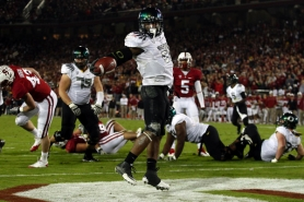 by: JAIME VALDEZ Oregon's LaMichael James has the end zone all to himself after a 4-yard touchdown run during last week's 53-30 victory at Stanford. Now the Ducks have to play USC, the Pac-12 team with the most football glory.