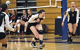 by: Miles Vance WINNING — Aloha senior Amy Boswell reacts to winning a point in her team's victory over Roseburg in the Class 6A state volleyball tournament at Liberty High School on Friday.
