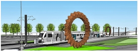 by:  This artist's concept of the two giant cast concrete sculptures planned for the new light rail Tacoma Street Station was provided by TriMet.