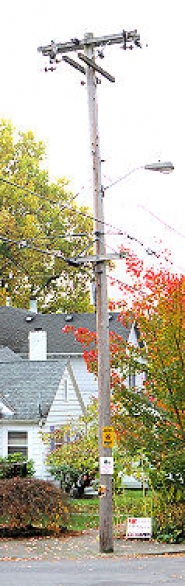by: David F. Ashton This power pole is reportedly the one T-Mobile hopes to place an antenna atop, in Eastmoreland.