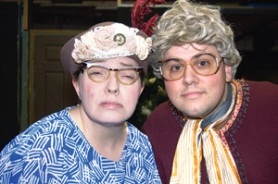 by: photo courtesy of Sandy Actors Theatre Pearl Burras and Dixie Deberry are two of the 22 zany characters Erin Hickman (left) and Patrick Roth (right) play in Sandy Actors Theatre's production of 'A Tuna Christmas.'