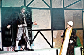 by: Contributed photo Erik Scott plays the ghost of Jacob Marley who visits Ebenezer Scrooge, played by Blake Dunbar, in Black Swan Youth Theatre's production of 'A Christmas Carol.'