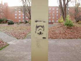 by: Submitted photo Oregon State Police Storm trooper graffiti invaded the Oregon State University campus on Wednesday and Thursday. Oregon State Police troopers tracked down to suspects on Thursday.