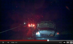 by:  Video taken by roadside service employee shows a white car leaving the scene of a hit and run on the Highway 217 on-ramp, Nov. 12.