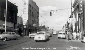 by: city of oregon city A photo circa 1950 taken at the corner of Seventh and Main streets faces north and shows two-way traffic.