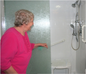 by:  Nancy Watts and her husband, Ivan, replaced a bathtub with a walk-in shower.