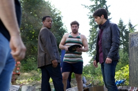 "by: Submitted photo ""Grimm"" stars Russell Hornsby (left), Brad Henke and David Giuntoli film on location in Sherwood in August."